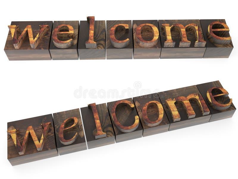 Palavra bem-vinda no tipo de madeira ilustração stock