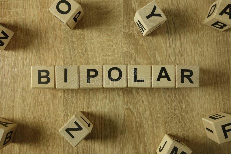 Palavra bipolar dos blocos de madeira fotos de stock