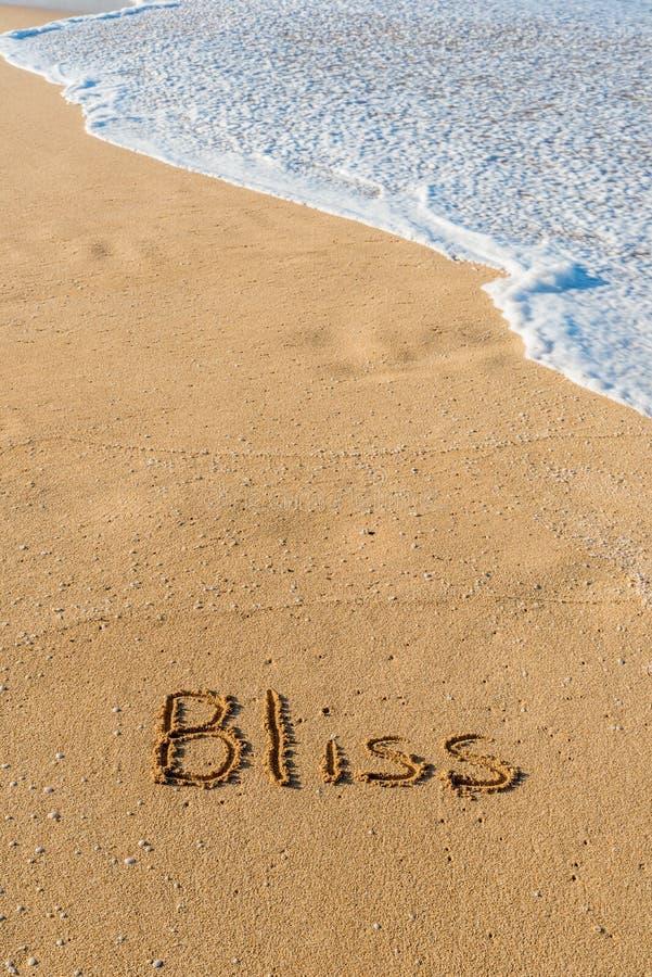 A palavra Bliss escrita na areia da praia imagem de stock royalty free