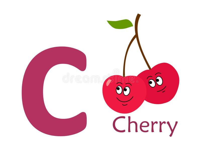 Palavra C do alfabeto C para a cereja ilustração do vetor