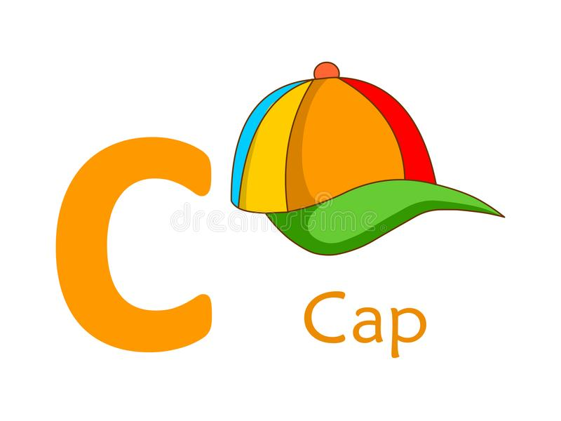 Palavra C do alfabeto C para o tampão ilustração stock