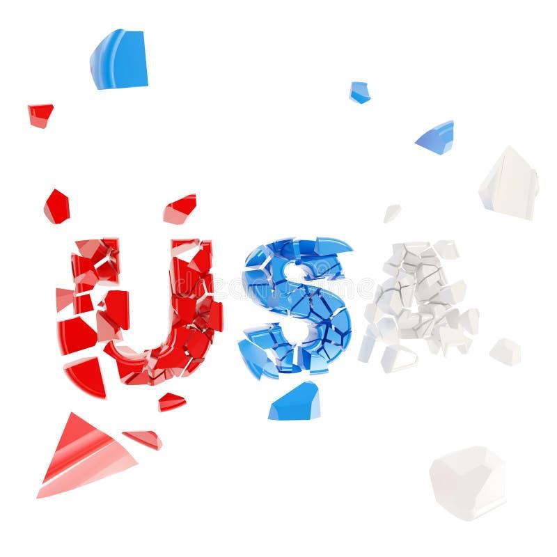 Palavra causada um crash EUA nas partes isoladas ilustração royalty free