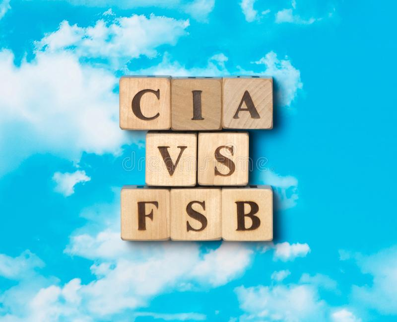 A palavra CIA contra FSB fotografia de stock