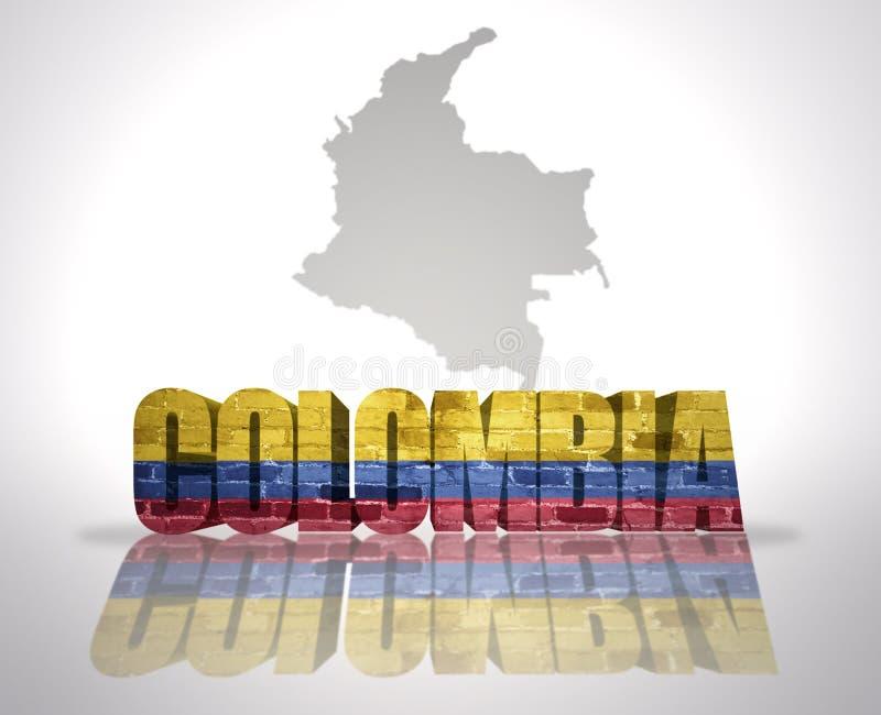 Palavra Colômbia em um fundo do mapa ilustração royalty free