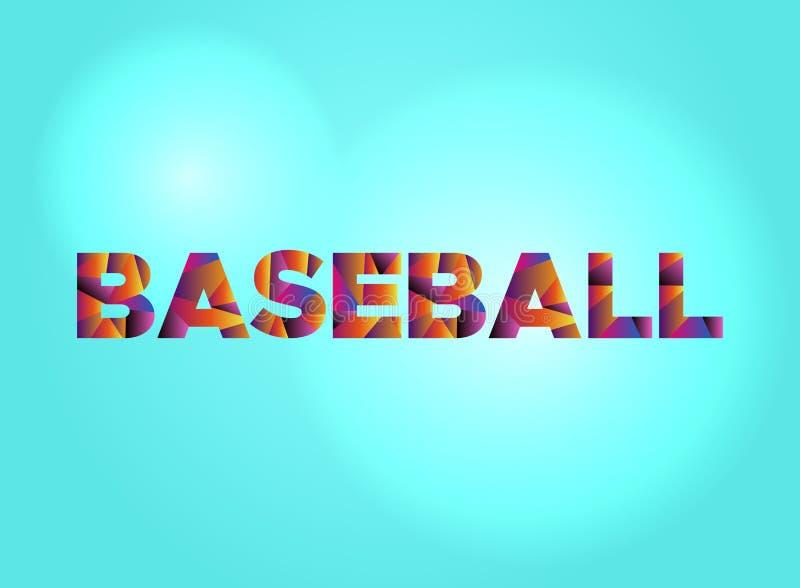 Palavra colorida Art Illustration do conceito do basebol ilustração stock