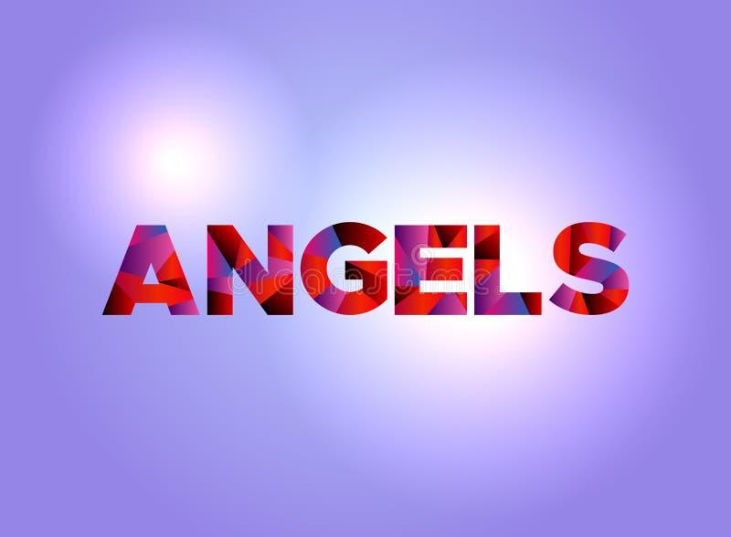 Palavra colorida Art Illustration do conceito dos anjos ilustração stock