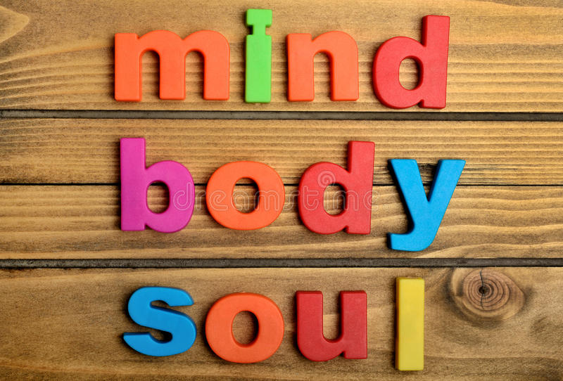 Palavra colorida da alma do corpo da mente imagens de stock royalty free