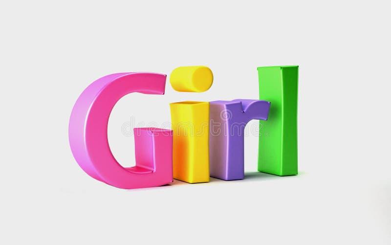 Palavra colorida menina 3d rendem a ilustração ilustração royalty free