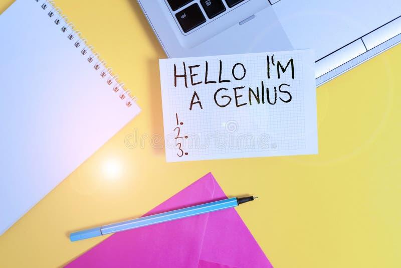 Palavra conceitual mostrando Olá Eu Sou Um Gênio Apresentação de fotos de negócios Introduza-se como em média fotografia de stock