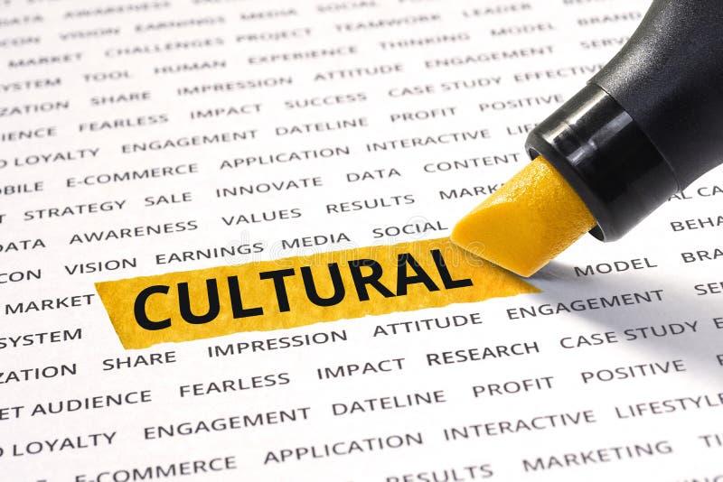 Palavra cultural destacada com marcador fotografia de stock
