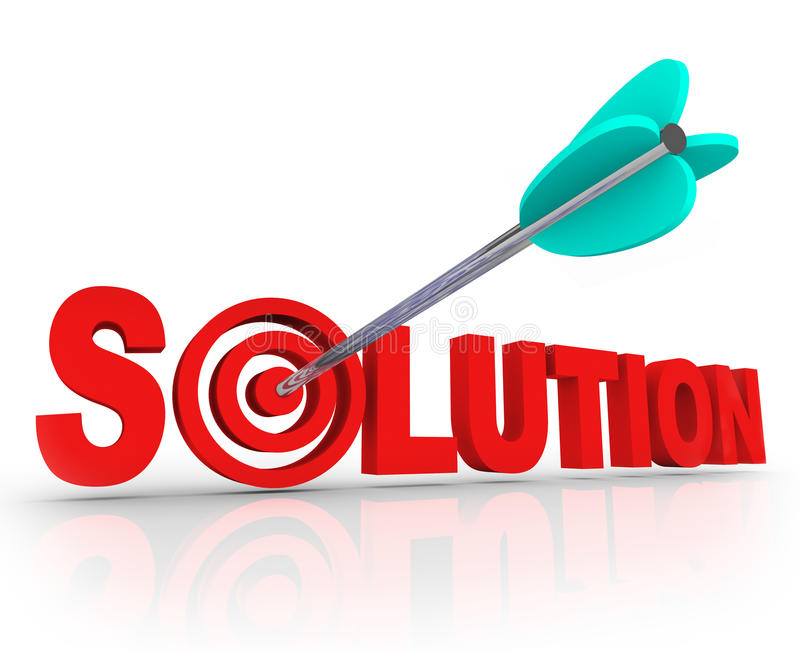 A palavra 3D da solução rotula o Touro-olho resolvido do alvo da seta do problema ilustração royalty free