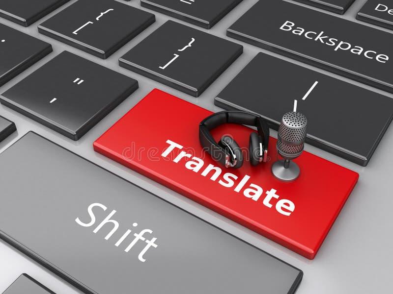 a palavra 3d traduz com o mic e os fones de ouvido no teclado de computador ilustração stock