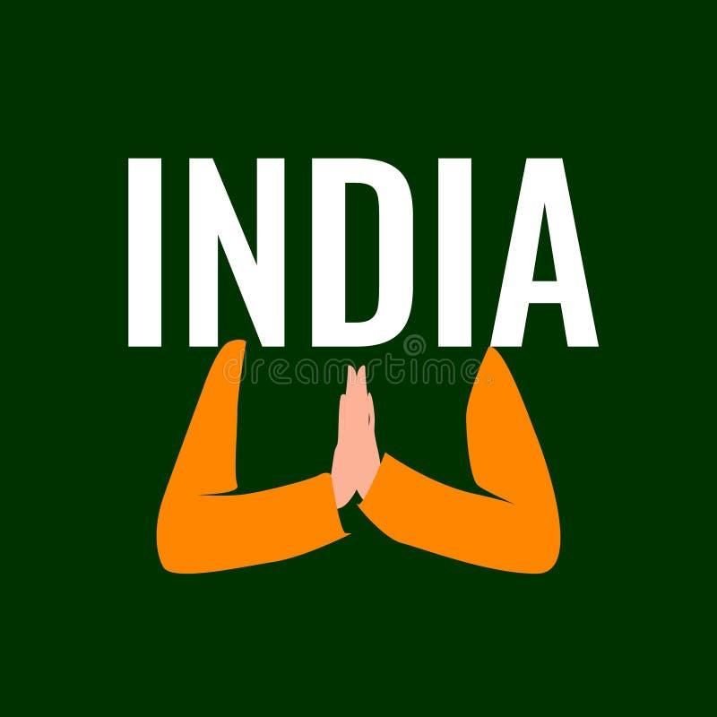 Palavra da Índia e duas mãos pressionadas junto na posição da oração ilustração royalty free