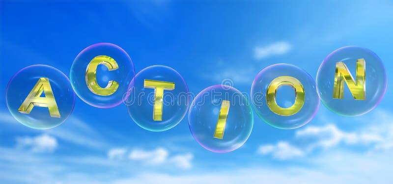 A palavra da ação na bolha ilustração do vetor