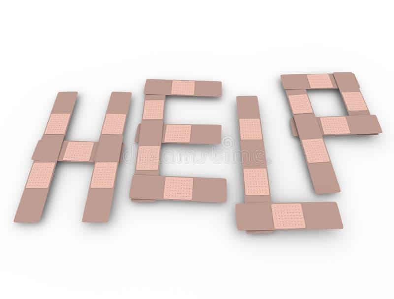 A palavra da ajuda enfaixa o apoio médico do auxílio do auxílio ilustração royalty free