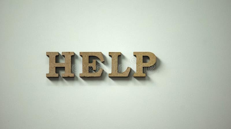 Palavra da ajuda feita das letras de madeira que encontram-se na tabela, pedindo o apoio, doação foto de stock
