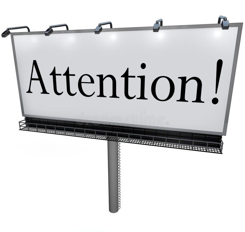 Palavra da atenção na mensagem urgente do anúncio especial do quadro de avisos ilustração stock