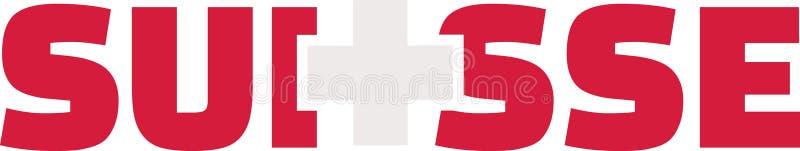 Palavra da bandeira de Suíça - Suisse ilustração do vetor