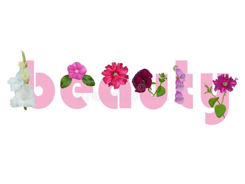 Palavra da beleza com flores imagens de stock