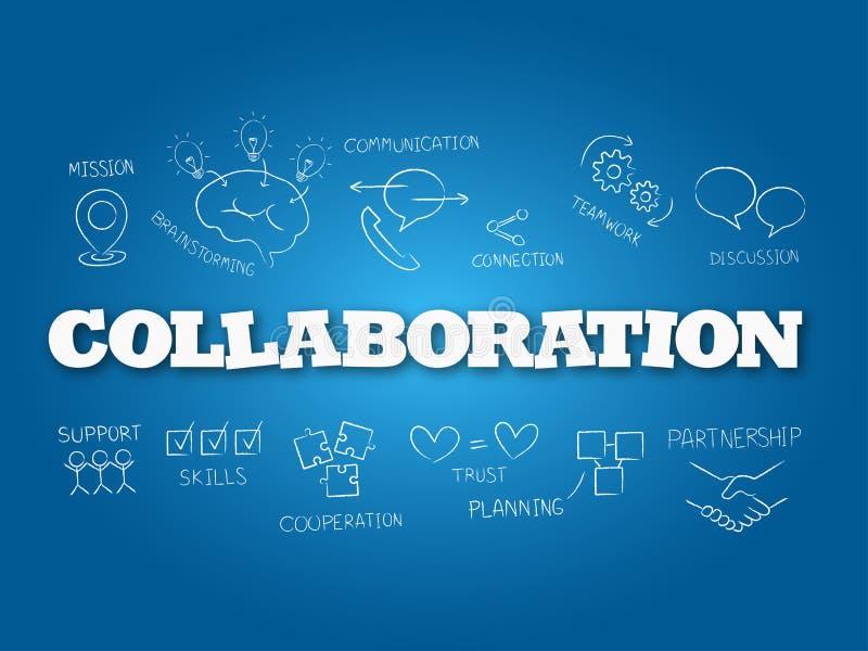 Palavra da colabora??o em claro - fundo azul Ilustra??o do vetor ilustração stock