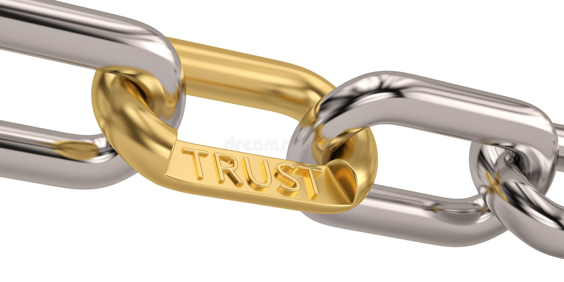 Palavra da confiança como o símbolo na corrente isolada no fundo branco 3d ilustração do vetor