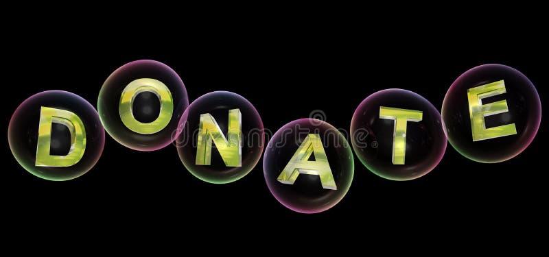 A palavra da doação na bolha ilustração do vetor