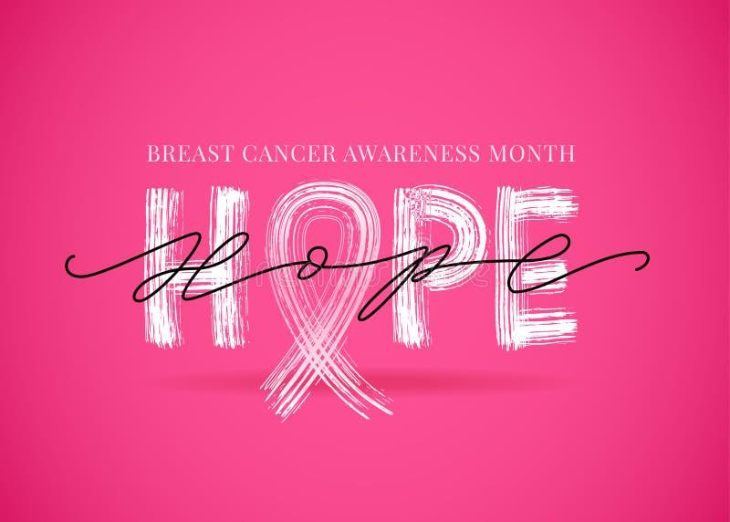 Palavra da esperança com símbolo cor-de-rosa da fita Mês da conscientização do câncer da mama Ilustração do vetor ilustração royalty free