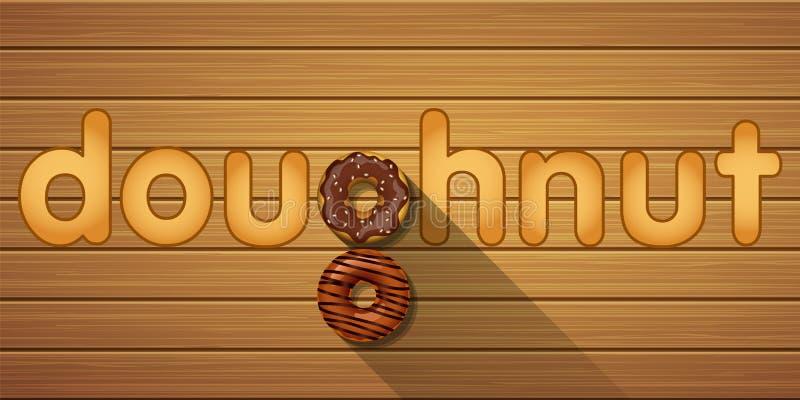 Palavra da filhós com vista superior de filhóses do chocolate ilustração do vetor