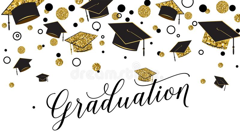 A palavra da graduação com tampão graduado, o preto e o ouro colorem, brilham pontos em um branco ilustração royalty free