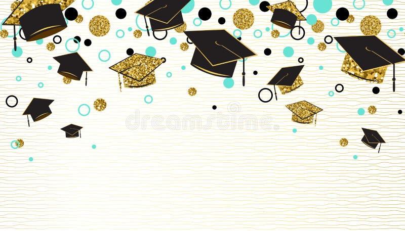 A palavra da graduação com tampão graduado, o preto e o ouro colorem, brilham pontos em um fundo branco Graduados das felicitaçõe ilustração do vetor