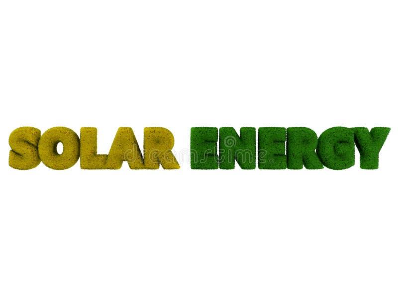 Palavra da grama da energia solar fotografia de stock