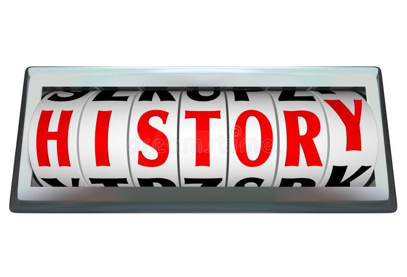 A palavra da história na barra do seletor de Odomoter mostra a passagem do tempo ilustração stock