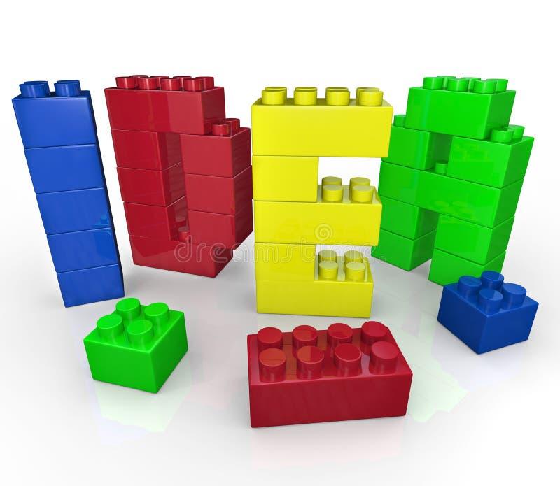 Palavra da idéia no jogo creativo dos blocos de apartamentos do brinquedo ilustração royalty free