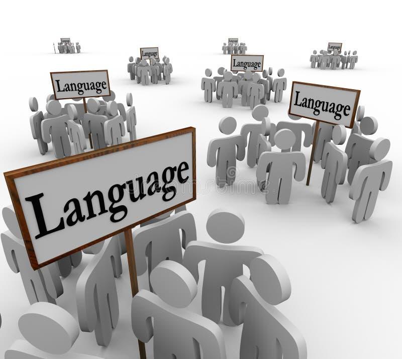 A palavra da língua assina as comunidades diversas diferentes ilustração royalty free