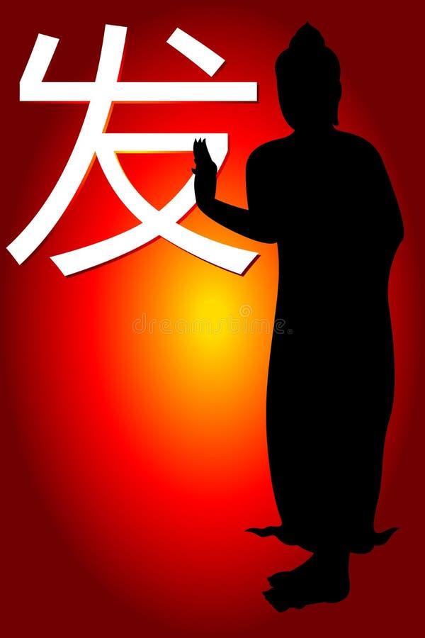 A palavra da língua chinesa para a iniciação e a Buda ilustração stock