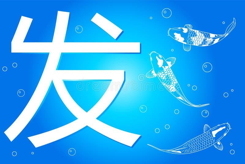 A palavra da língua chinesa para a iniciação e peixes extravagantes da carpa ilustração do vetor