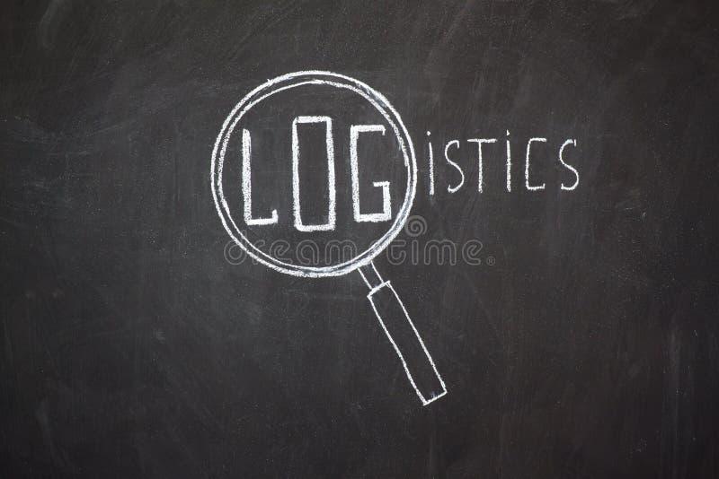 Palavra da lente de aumento e 'da logística' fotos de stock