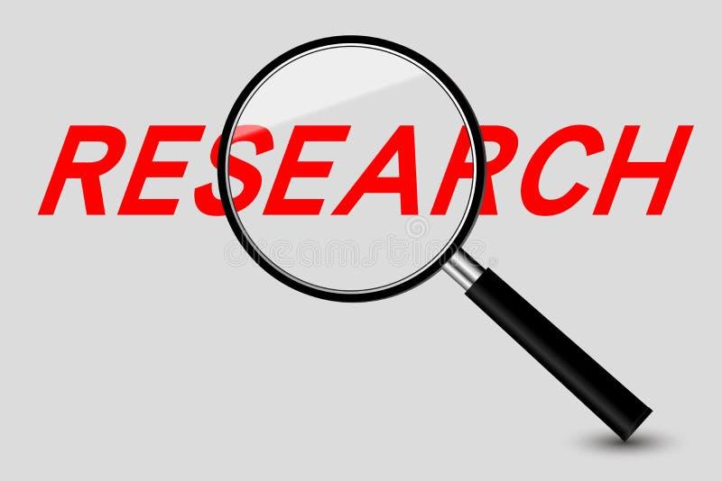 Palavra da lente de aumento e da pesquisa ilustração do vetor