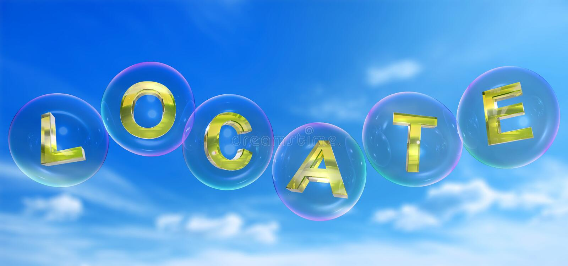 A palavra da localização na bolha ilustração royalty free