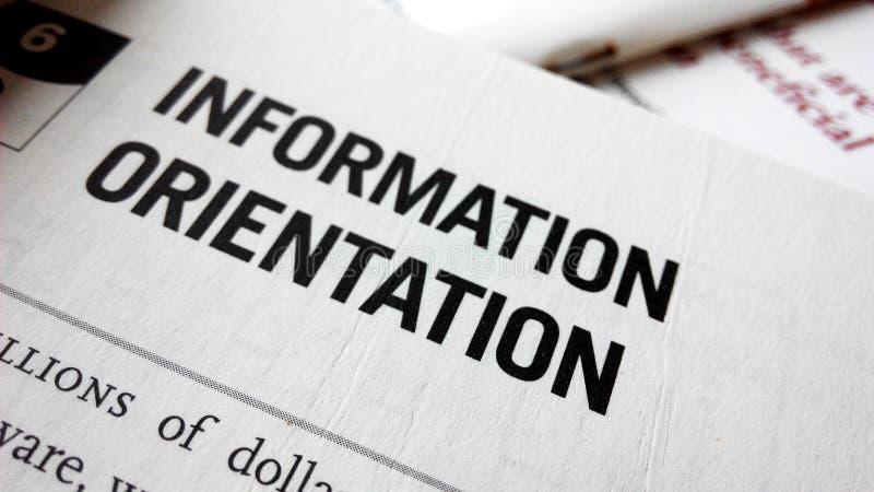 Palavra da orientação da informação em um livro imagens de stock