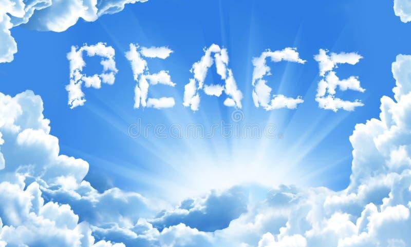 Palavra da paz no céu no fundo das nuvens ilustração royalty free