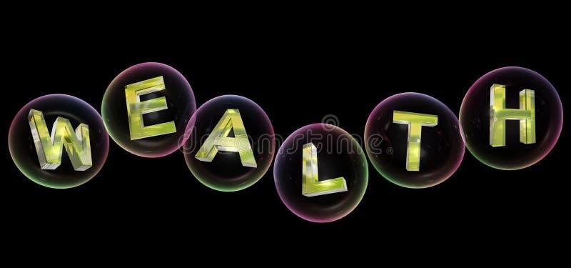 A palavra da riqueza na bolha ilustração stock
