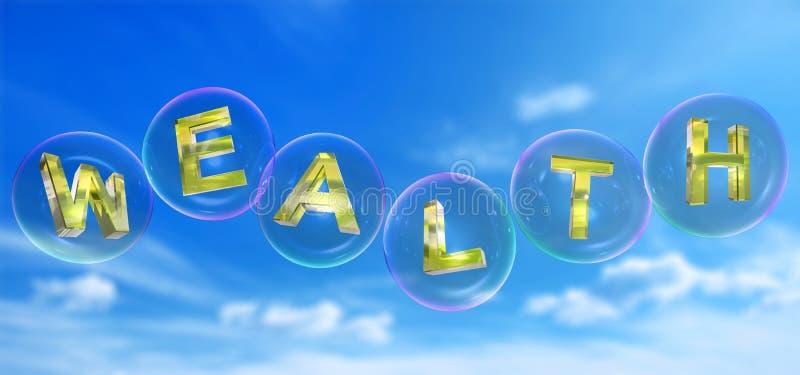 A palavra da riqueza na bolha ilustração do vetor