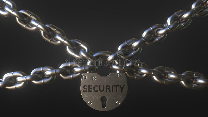 Palavra da SEGURANÇA em um cadeado que guarda correntes do metal Rendi??o 3d conceptual ilustração stock