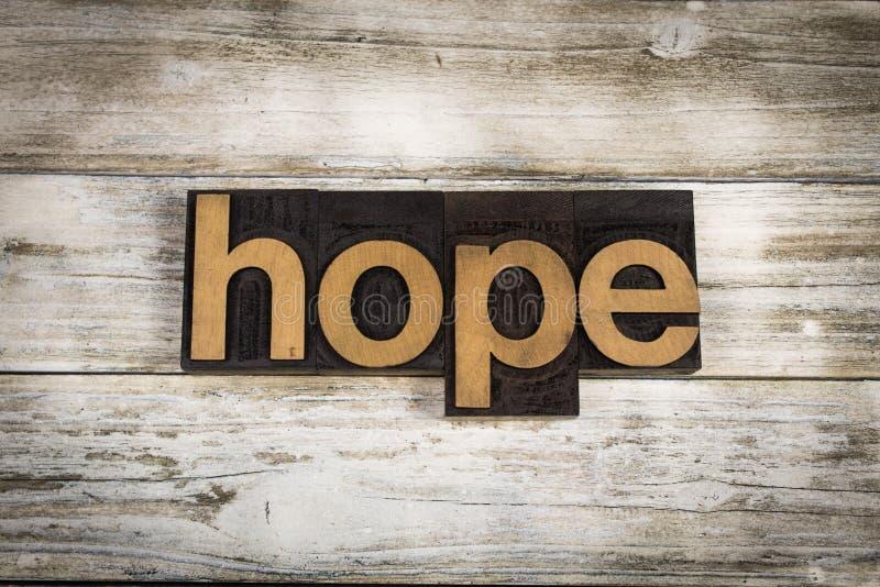 Palavra da tipografia da esperança no fundo de madeira fotos de stock royalty free