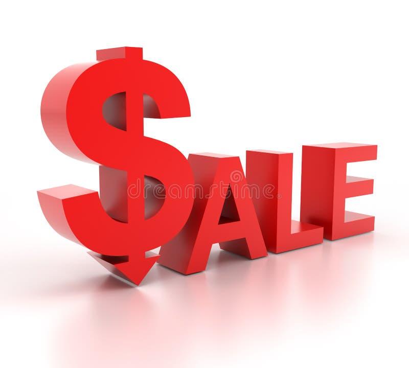 Palavra da venda com sinal de dólar ilustração do vetor