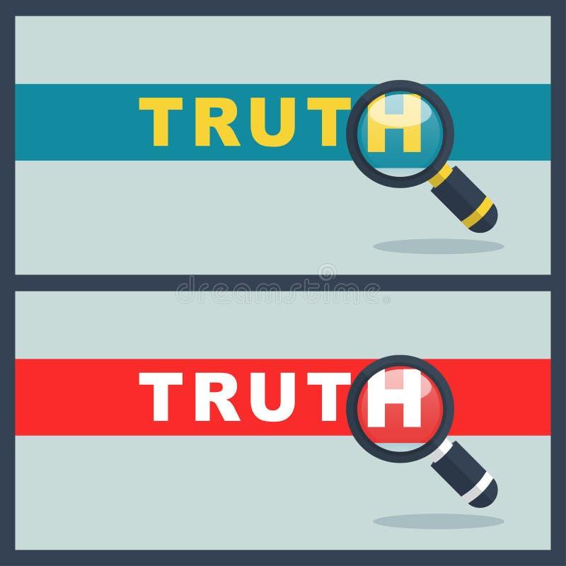 Palavra da verdade com conceito da lente de aumento ilustração do vetor