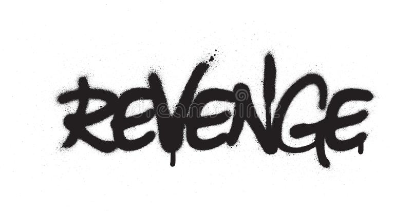 A palavra da vingança dos grafittis pulverizou no preto sobre o branco ilustração stock