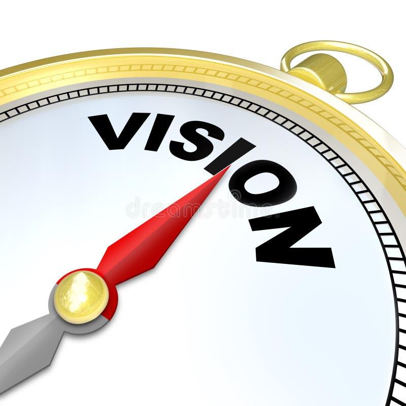 Palavra da visão na estratégia do sentido do plano do compasso do ouro ilustração stock