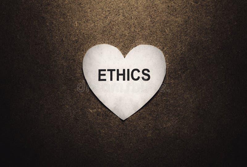 Palavra das éticas na forma do coração fotos de stock royalty free